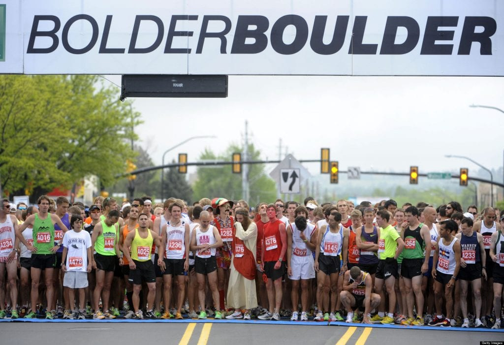 Runners prepare at the starting line during the Bolder Boulder 10k on Monday, May 30, 2011. AAron Ontiveroz, The Denver Post